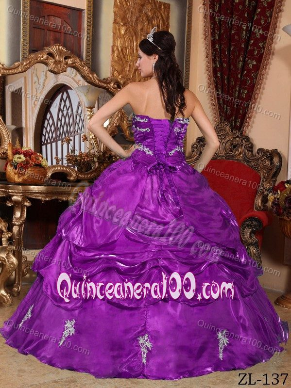 Purple Organza Quinceanera Gown Dress With Appliques And