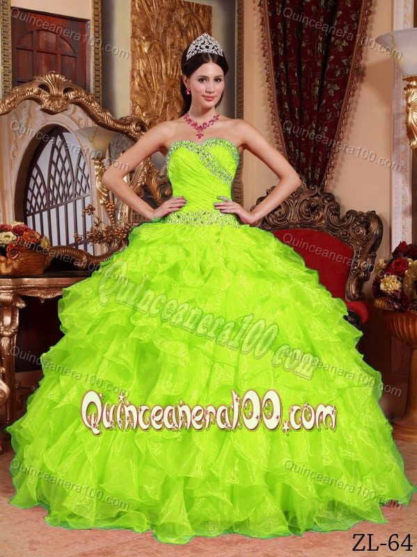 Yellow and green quinceanera dresses