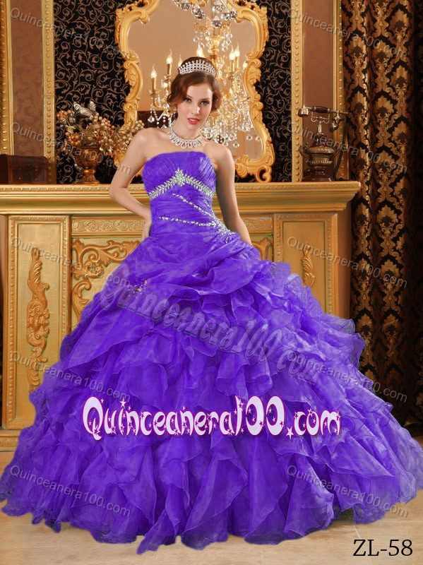 2014 Purple Sweet Sixteen Quinceanera Dresses with Beading and ...