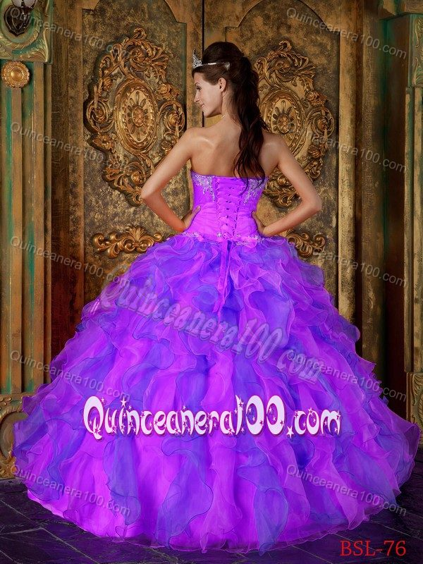 Purple and Pink A-Line / Princess Sweetheart Quinceanera Gown ...