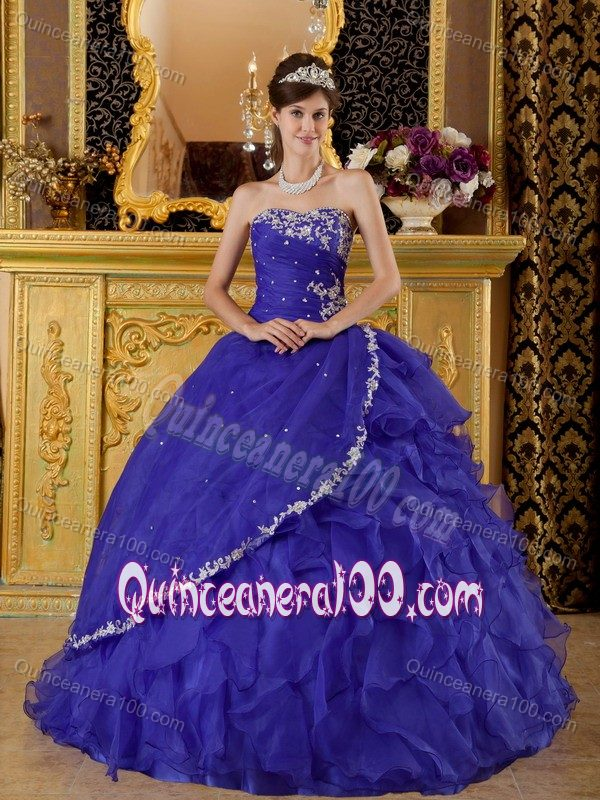 Deep Purple Strapless Quinceanera Dress with Appliques and Ruffled ...
