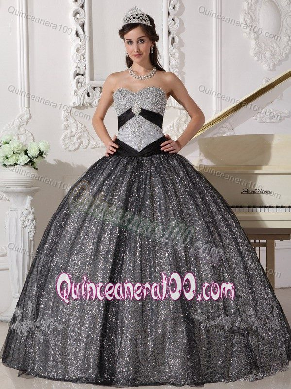 Black and Silver Sweetheart Quinceanera Gown Dress by Sequined ...