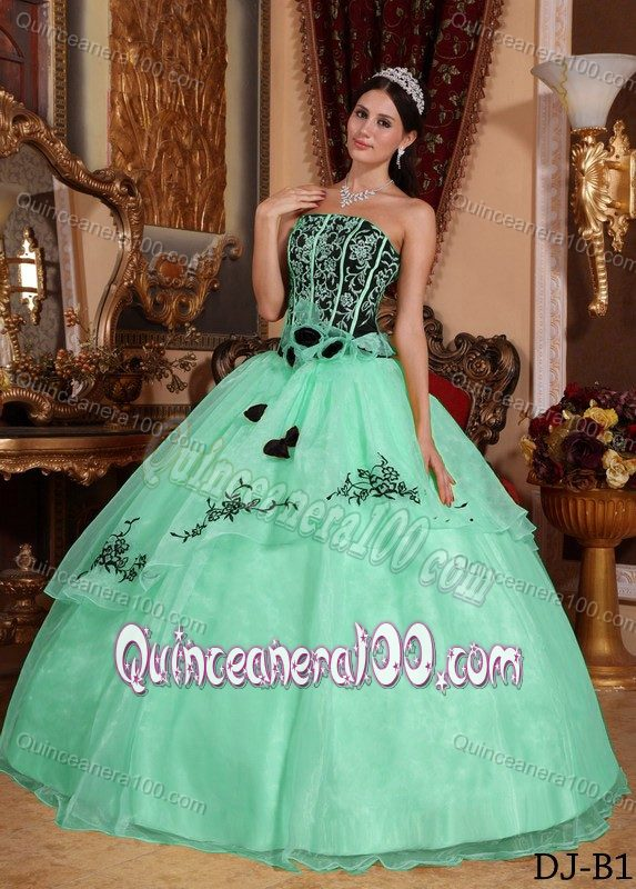 Apple Green and Black Quinceanera Dress with Embroidery and ...