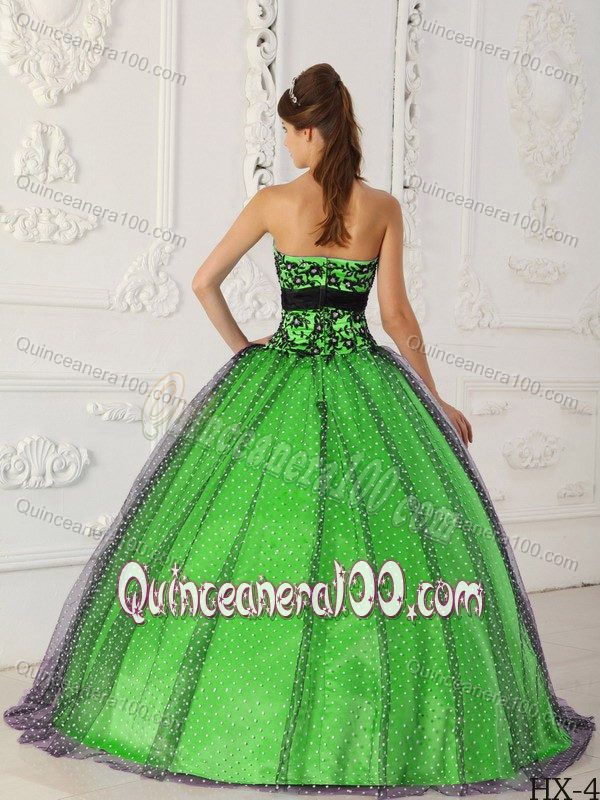 8aeeb56e2ec Black and Spring Green Quinceanera Dress with Beading and Appliques ...