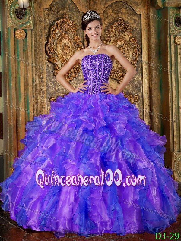 Blue and Purple Strapless Quinceanera Dress with Beading and ...