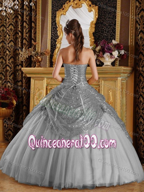Elegant Grey Ball Gown Corset Back Sweet 16 Dress with Sequins ...