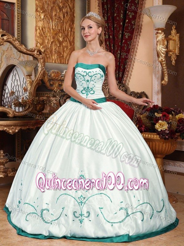 Ball Gown Appliqued White and Turquoise Quinces Dress - Quinceanera 100