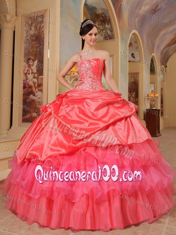 278d3759473 Pick Ups Appliqued Coral Red Quinceanera Dress One Shoulder .
