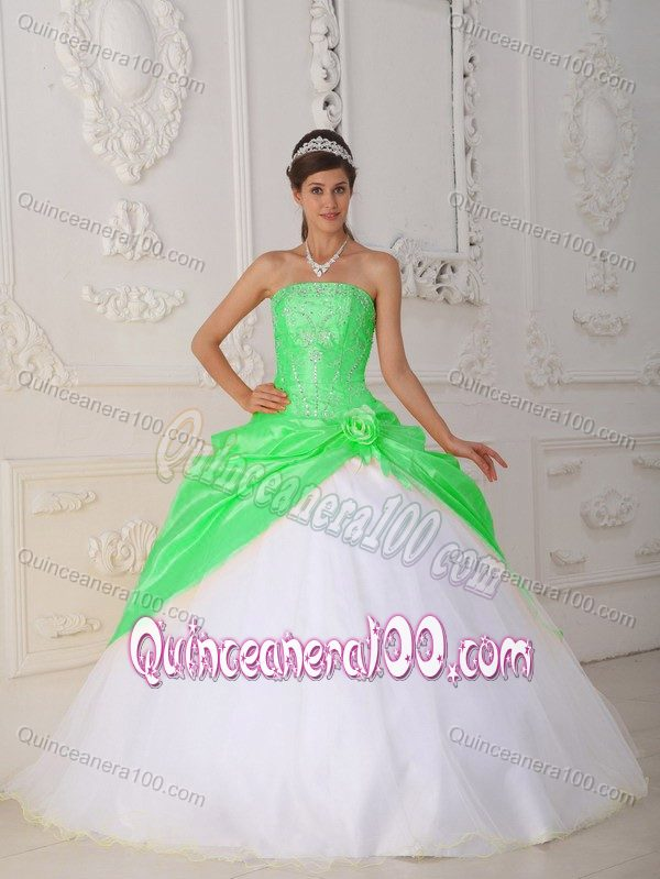 Spring Green and White Ball Gown Beaded Sweet 15 Dresses ...