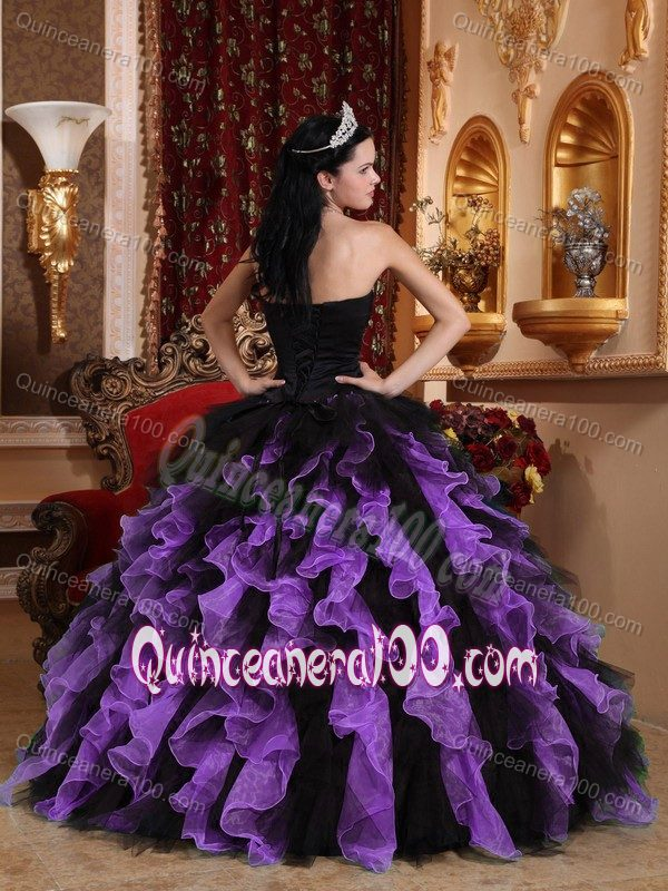 Organza Beaded Ruffled Black and Purple Dress for Sweet 15 ...
