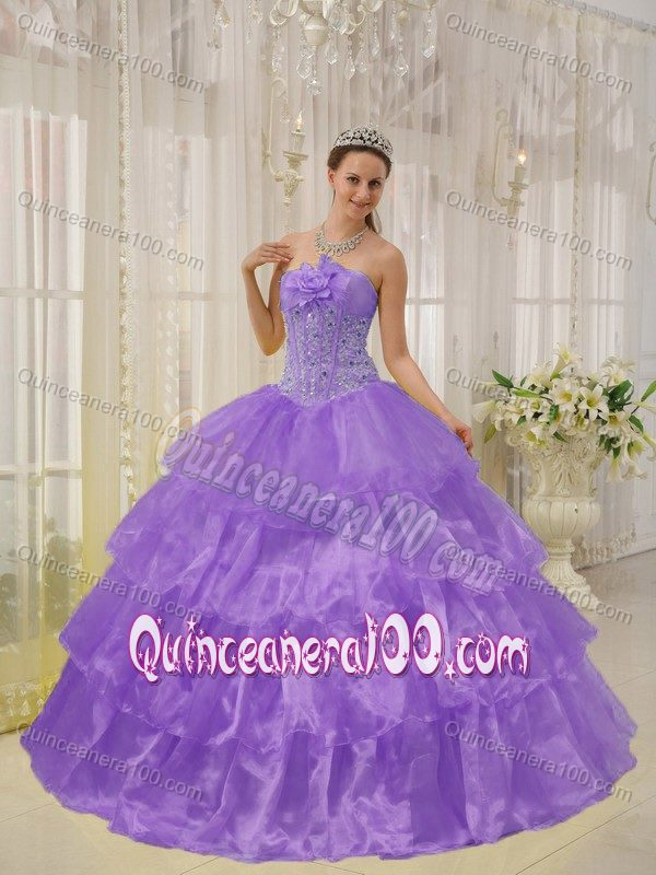 Corset Light Purple Ruffled Beaded Quinceanera Party Dresses ...