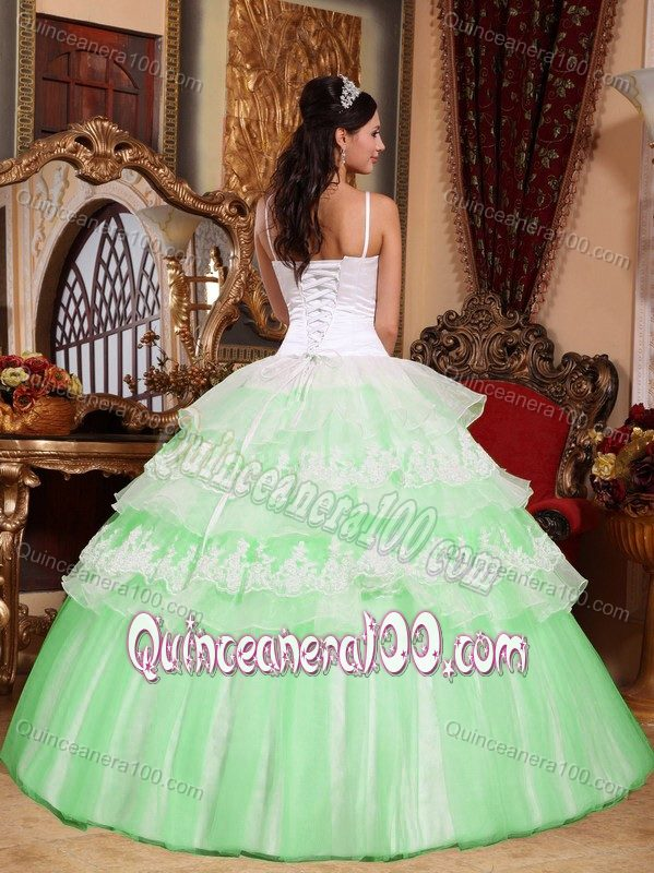 46f8ad7f416 Dressy Spaghetti Straps Two-toned Ruffled Quinceanera Dress ...