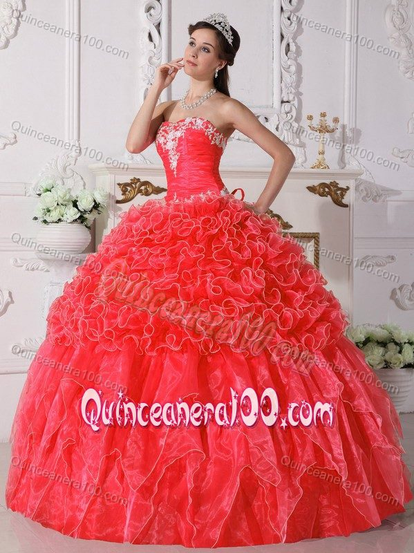 6b1148f2be8b Embroidery Coral Red Rolling Flowers Ruffled Dresses for 15. triumph