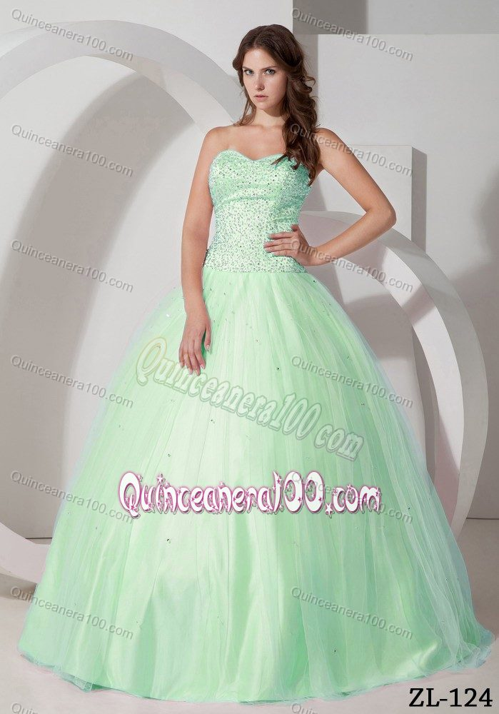 Unique Pale Green Ball Gown Tulle Sweetheart Beaded Dresses 15 ...