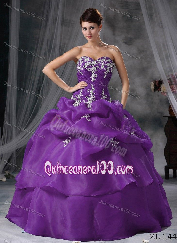 Purple Sweetheart Appliques Pick Ups Organza Sweet 16 Dresses