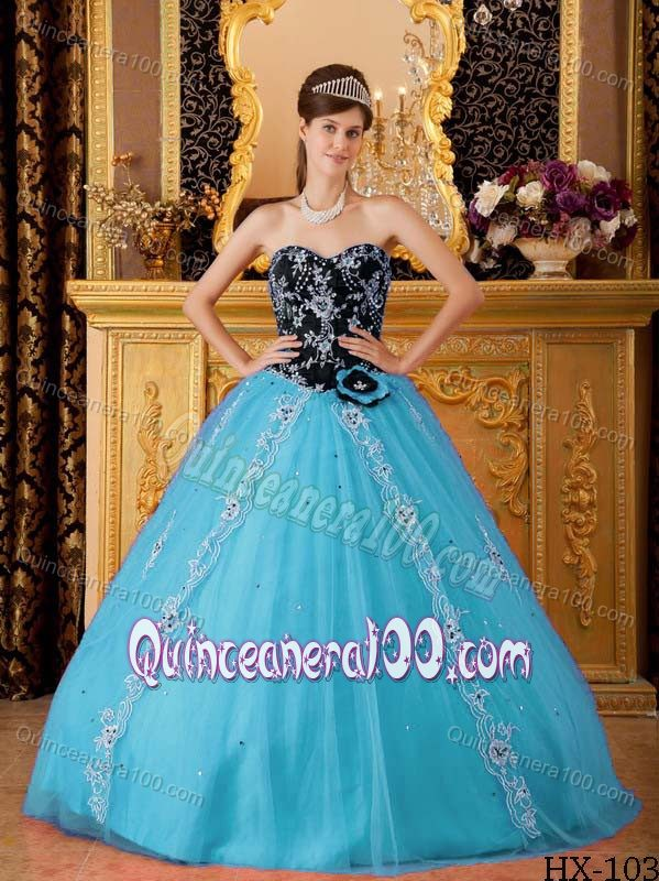 Beading Appliqued Aqua Blue and Black Dress for Quinceanera ...