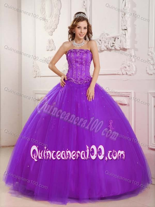 Purple Tulle Ball Gown Beading Strapless Quince Dresses ...
