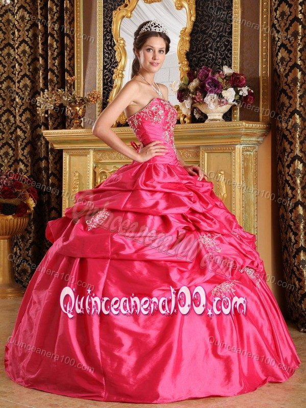 Hot Pink Ball Gown Pick-ups Appliqued Quinceanera Party Dress ...