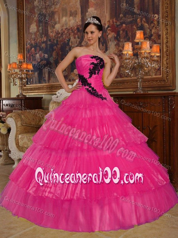 Hot Pink Layered Organza Quinceanera Dress with Black Appliques ...