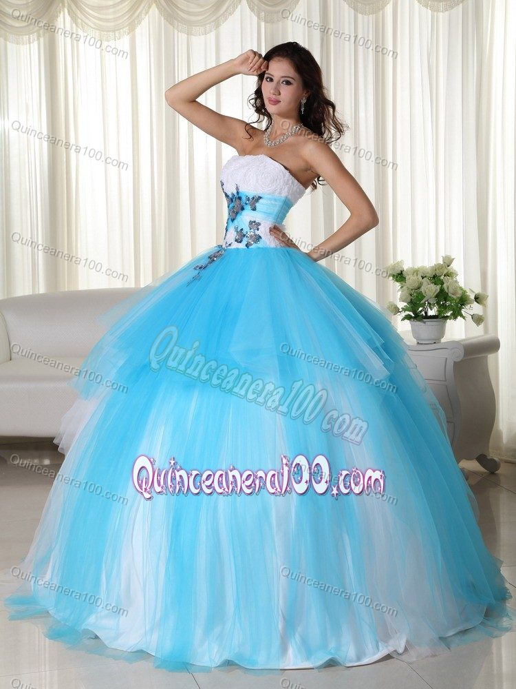 Latest Appliqued White And Aqua Blue Sweet Sixteen Dresses