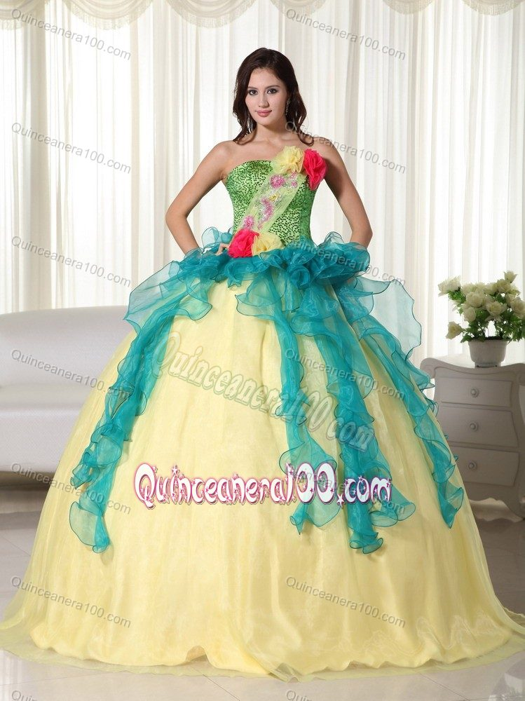 Wonderful Colorful Ball Gown Sweet 16 Dresses with Flowers ...