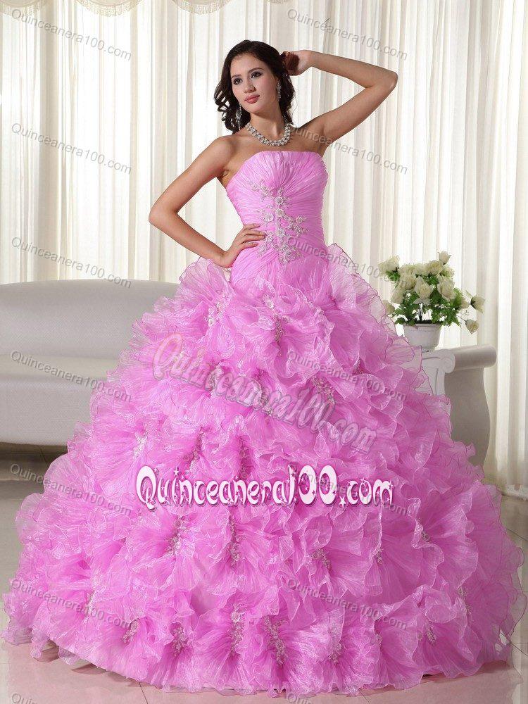 Low Price Rose Pink Ball Gown Dress for Sweet 16 with Flowers ...