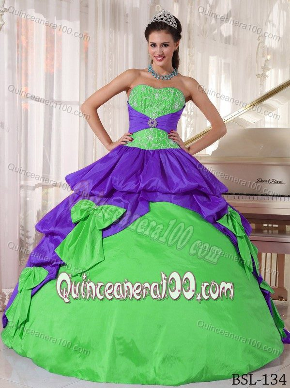 7014da53aff87 Appliqued Purple and Spring Green Dress for Quince with Bow ...