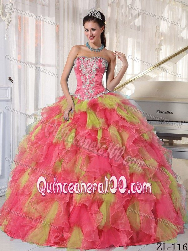 Pink And Yellow Quinceanera Dresses & Gowns - Quinceanera 100