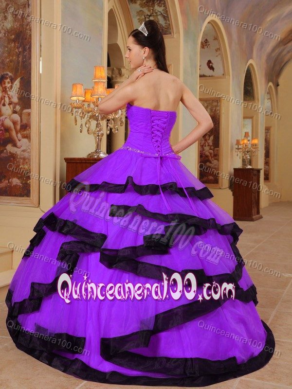 Latest Dark Violet Strapless Dresses for a Quinceanera with Beading ...