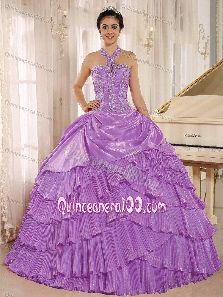 Multi-tiered Lavender Haltered Sweet 15/16 Birthday Dress ...
