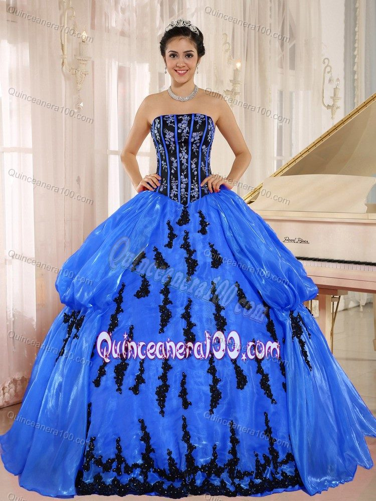 Royal Blue Sweet 15/16 Birthday Dress with Black Appliques ...