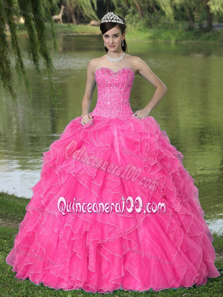 Beading Ruffled Hot Pink Sweet 16 Dresses with Lace Up Back ...