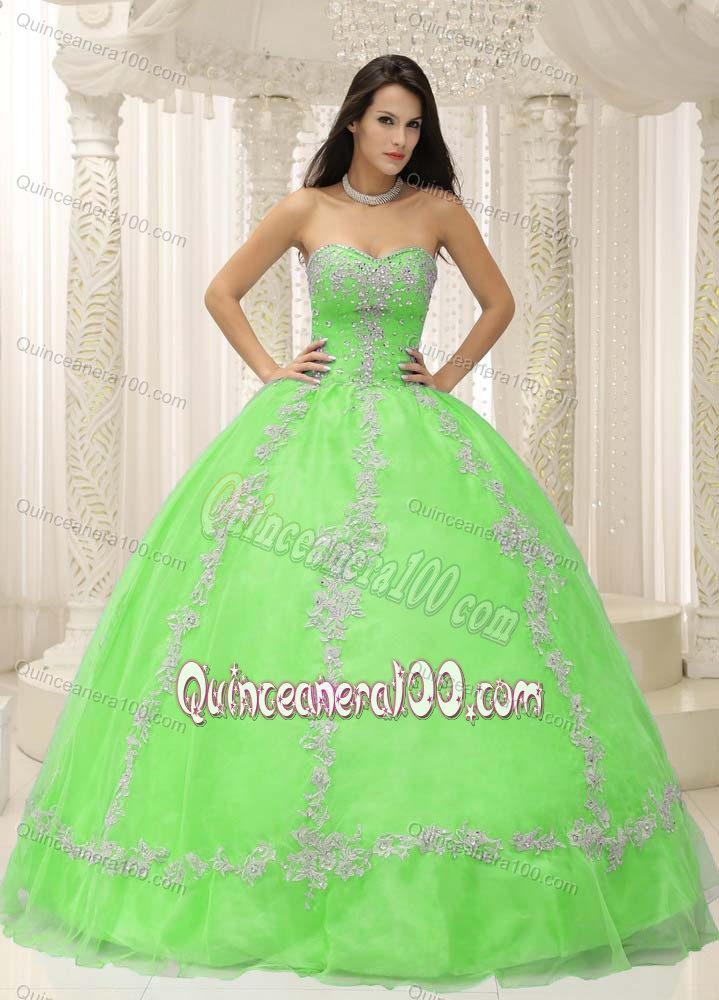 Strapless Beading Apple Green Quinceanera Dresses with Appliques ...