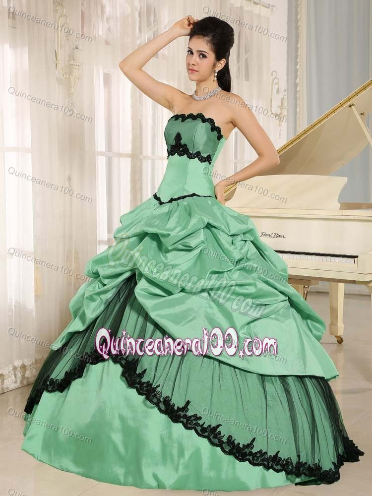 Turquoise Sweet 16 Dresses with Pick-ups and Black Appliques ...