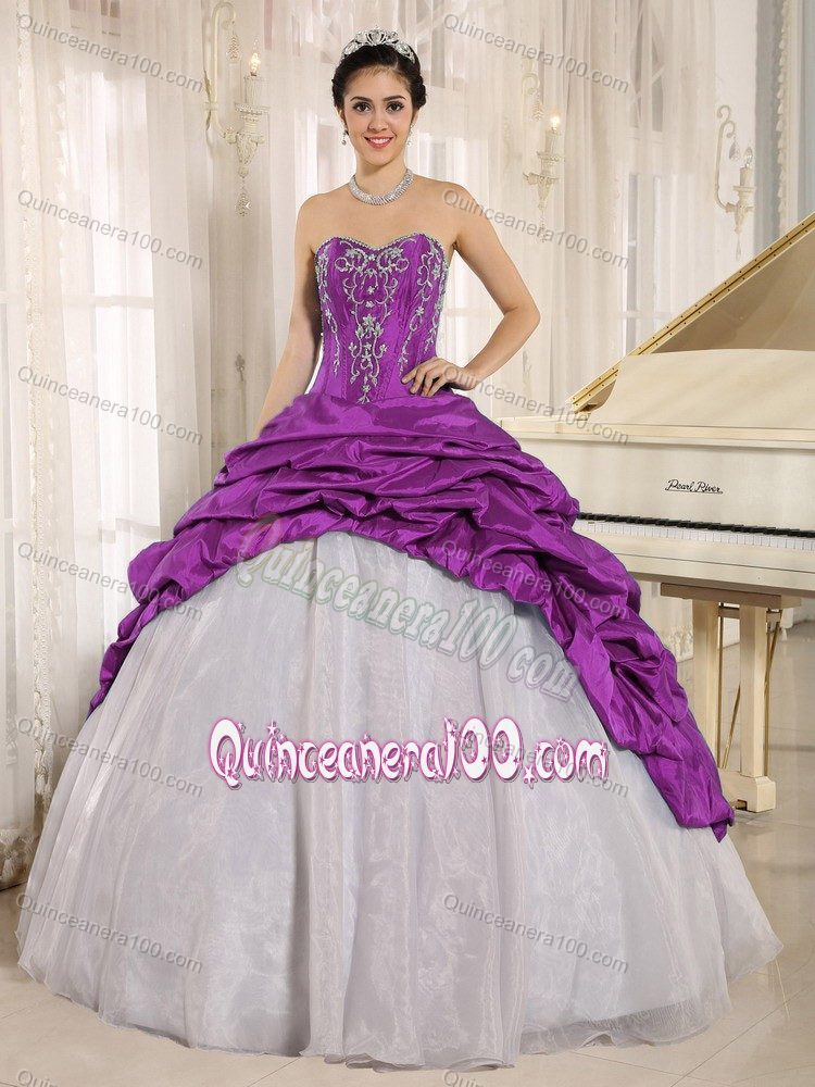 White Strapless Quinceanera Party Dress with Purple Embroidery ...
