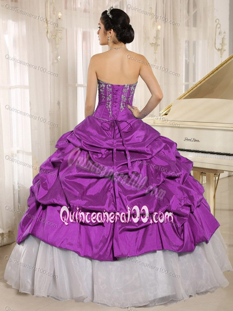 Luxurious Purple and White Quinceanera Party Dress with Pick-ups ...