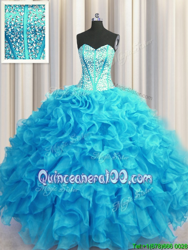 Visible Boning Bling-bling Sleeveless Floor Length Beading and Ruffles Lace Up Quince Ball Gowns with Baby Blue and Light Blue