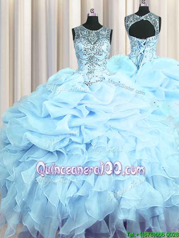 Hot Selling Scoop See Through Spring and Summer and Fall and Winter Organza Sleeveless Floor Length Sweet 16 Dress andBeading and Ruffles and Pick Ups