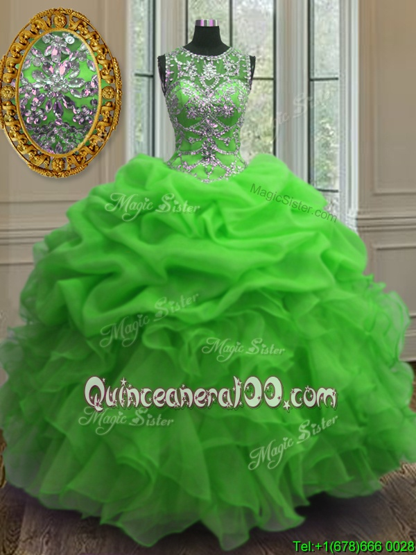 Fantastic Green Organza Lace Up Scoop Sleeveless Floor Length Quinceanera Gowns Beading and Ruffles and Pick Ups