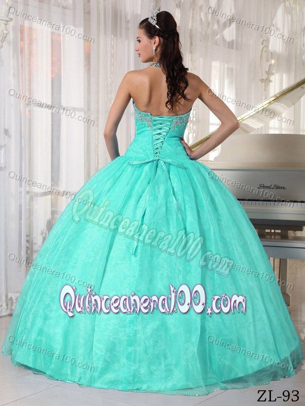 Lovely Appliqued Mint Colored Sweet Sixteen Dresses with Ruches ...