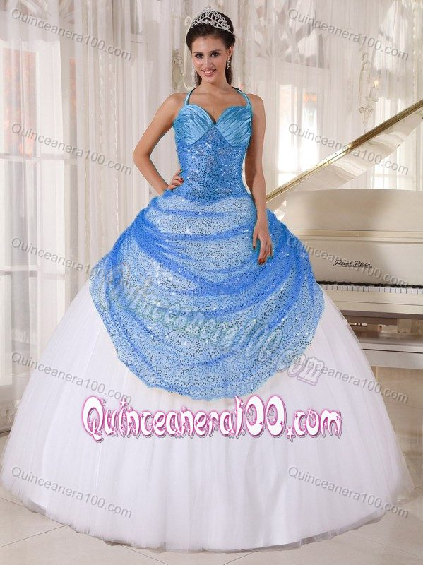 Halter Ruched Blue and White Sweet 16 Dresses with Sequins ...
