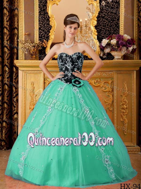 Appliqued Black and Turquoise Sweet 15 Dresses with Sweetheart ...