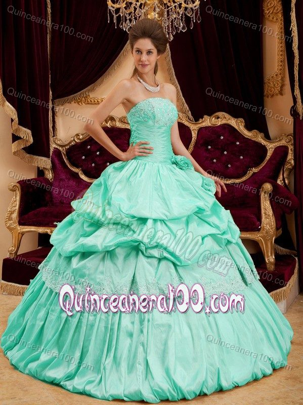 6f74a361019 Mint Colored Strapless Sweet 15 Dress with Appliques and Pick ups ...