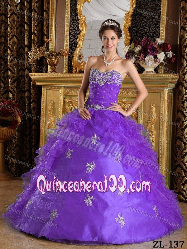 27c4f3276ca Appliqued and Ruched Lavender Sweet 15 Dresses with Ruffles ...