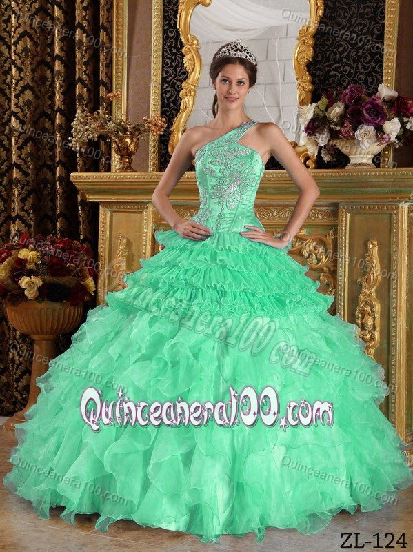 Apple Green One Shoulder Quinceanera Dress Gown with Beading ...