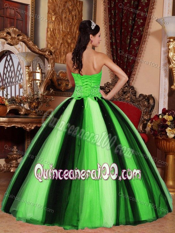 e04eb5640a6 Spring Green and Black Tulle Sweet 15 Dresses with Beading 2013 ...