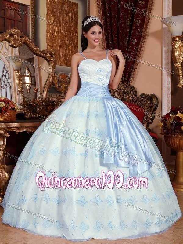 Light Blue Sash and Embroidery Accent White Quinceanera Dresses ...