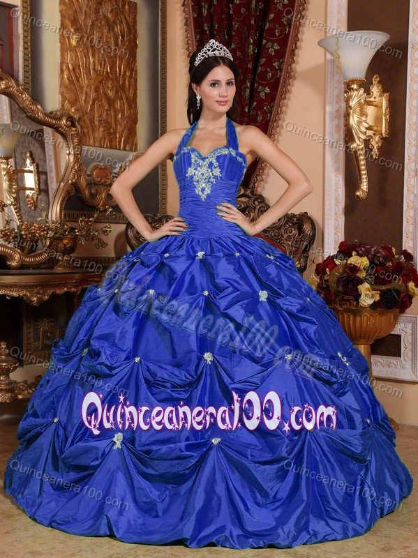 Royal Blue Halter Taffeta Quince Dresses with Appliques Pick ups ...