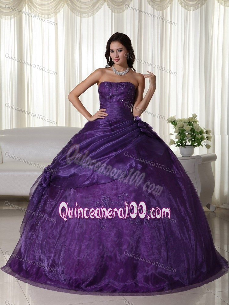 0d0f0b680 Cheap Embroidery Beading Purple Strapless Dress for Sweet 16 ...