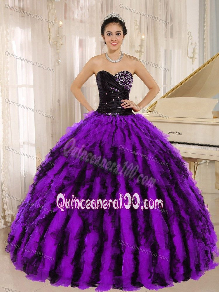 Luxurious Purple and Black Beading Dress for Sweet 16 with Ruffles